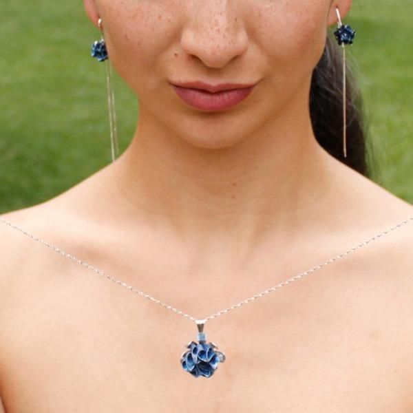 Mandala Origami Blue Tassel Earrings