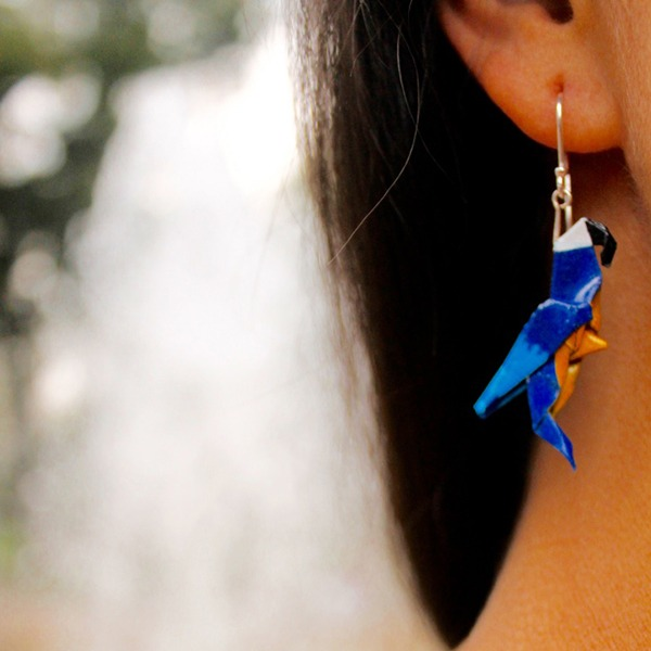 Parrot Origami Blue Earrings